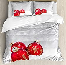 Ambesonne Christmas Duvet Cover Set, Xmas Baubles on Snow with Snowflakes Ice Holiday Humanitarian Artwork Illustration, Decorative 3 Piece Bedding Set with 2 Pillow Shams, Queen Size, White Red