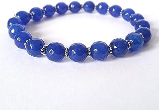 Bracciale Agata Blu Donna con Separatori, Elastico 19 cm, Fatto a Mano, Pietre Dure Naturali