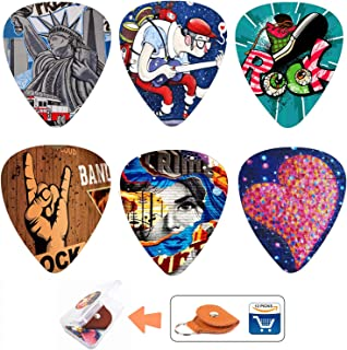 Unique Guitar Picks 12 Medium Gauge Pack with Picks Holder and Plastic Picks Box, SUNLP Hip-Hop Graffiti Themed Guitar Cool Picks for Bass Electric Guitar Acoustic Guitar Lovers guitarists gift