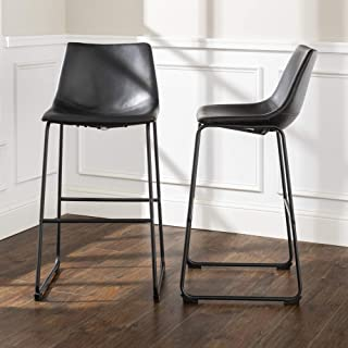 WE Furniture Black Faux Leather Barstool, Set of 2