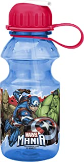 Zak Designs Marvel Universe Kids Water Bottle with Straw and Built-in Carrying Loop, Durable Water Bottle Has Wide Mouth and Break Resistant Design is Perfect for Kids (14oz, Tritan, BPA-Free)