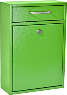 Mail Boss 7422 High Security Steel Locking Wall Mounted Mailbox Office Drop Comment Letter Deposit Box, Green