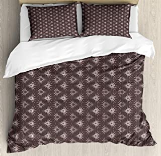 Geometric Queen Size Bedding Sets - Retro Pattern with Optical Illusion Design with Circles Geometric Illustration Duvet Quilt Cover Set Pillowcases for Childrens/Kids/Teens/Adults, 3 Pieces