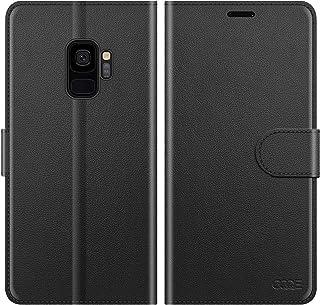 "OQQE for Samsung Galaxy S9/-G960U 5.8"" Wallet Case,Cowhide Genuine Leather Folio Flip Cover Shell Anti-Fall Shockproof [RF..."