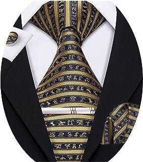 Barry.Wang Corbatas de seda para hombre con pañuelo de bolsillo, gemelos a rayas, juego de corbatas para bodas y celebraci...