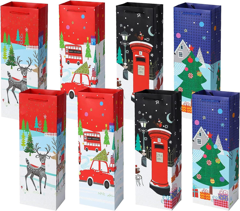 8 Pieces Bolsa Botella Vino Bolsos de regalo de vino de Navidad Bolsas de botella de vino Bolsas de asas de vino con asas de papel Kraft Botella de vino Transportes Bolsas de regalo Bolsas de champán