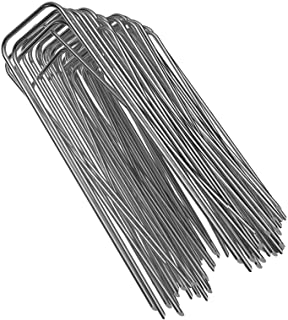 GROWNEER 100 Packs 6 Inches Heavy Duty 11 Gauge Galvanized Steel Garden Stakes Staples Securing Pegs for Securing Weed Fab...
