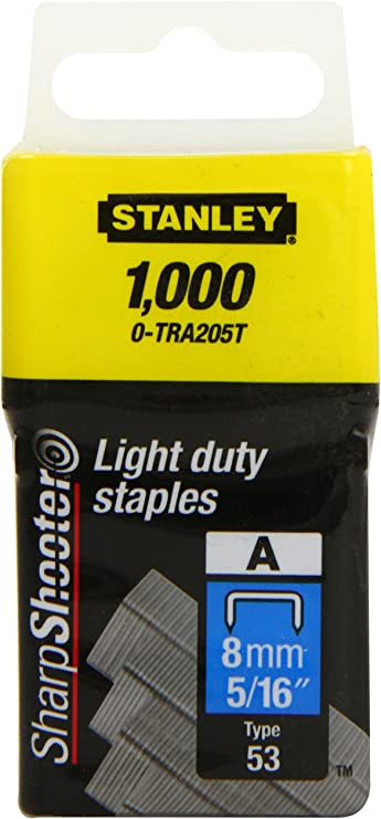 Stanley 0-TRA205T Multi-Fit Léger Devoir Agrafe 8mm Paquet De 1000