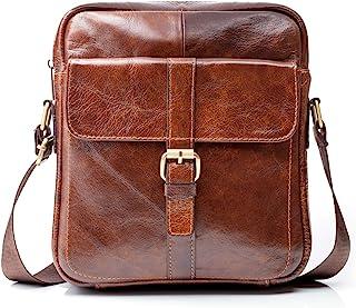 "Premium Leather Crossbody Bags for Men – 9.7"" iPad Pocket, Heavy-Duty Travel Shoulder Bag - Mens Cross Body Messenger Satchel Boasts Brass Hardware, Superior Small Stitching, Better Than YKK Zippers"