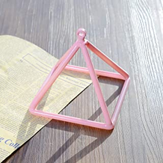 TOPFUND Pink Color Quartz Crystal Singing Pyramid 5 inch with Quartz Suede Striker