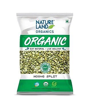 Natureland Organics Moong Chilka/Split Pouch, 1 kg