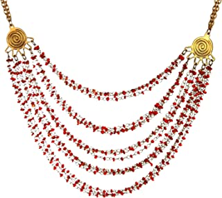 DCA Gold/Red Glass::Brass Women Necklace (4322)