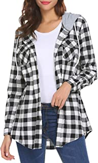 UNibelle Long Sleeves Boyfriend Plaid Button-Down Hoodie Shirt