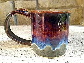 Coffee Mug, Tea Cup, Handmade Ceramic, Stone Grey with Purple Blue Drizzle