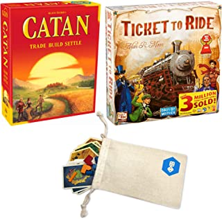 Goodsite brands Catan 5th Edition and Days of Wonder's Ticket to Ride Bundle | Includes Convenient Drawstring Storage Pouch with Game Players Logo Printed