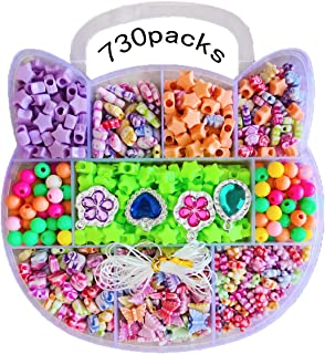 DIY Beads Set Necklace Bracelet Jewelry Making Crafts Kits for Girls,730 Beads of Different Types and Shapes