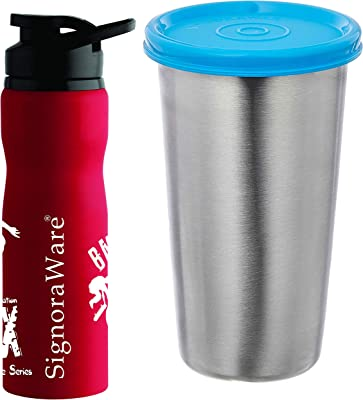 Signoraware Action Single Walled Stainless Steel Fridge Water Bottle, 750ml, Red + Stainless Steel Tumbler, Blue COMBO