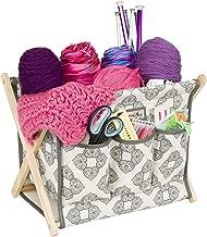 Everything Mary Deluxe Fold-Up Wooden Yarn Arts Caddy - Organization Storage for Knitting, Yarn, Crotchet - Yarn & Notions Organization - Tangle Free Yarn Caddy Bag Organizer for Tools & Travel