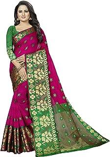 Regolith Designer Sarees Banarasi Kanjivaram Style Cotton Silk Multi-Colored Saree with Blouse Piece Pink