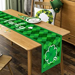 St. Patrick's Day Shamrocks Table Runner, Green Clover Table Runner for Irish Holiday Kitchen Dining Home Party Everyday D...