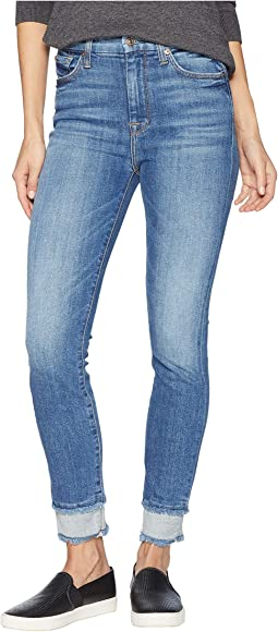 High-Waisted Ankle Skinny w/ Reverse Double Fray Hem in Pretty District Row