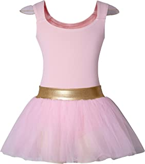 DANSHOW Girls' Tank Skirt Leotards for Ballet Dance with Tutu, Gold Waist and Flying Sleeves