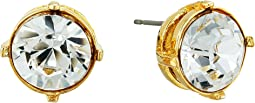 Gold Setting 12mm Round Crystal Stone Pierced Earrings
