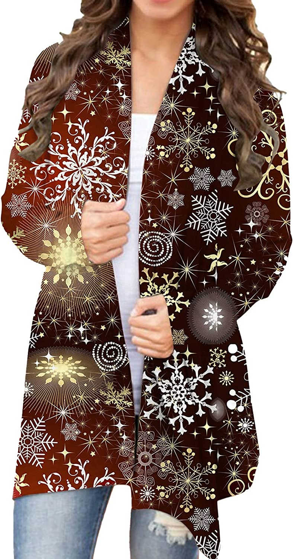 Cardigans for Women Lightweight Christmas Long Sleeve Open Front Flowy Hem Cardigan Coats Plus Size Fall Outwear