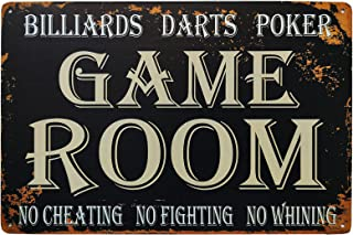 WOSTOD Funny Game Room Decor Billiards, Poker, Darts Vintage Metal Tin Sign for Man Cave Play Room Wall Decor 8X12Inch