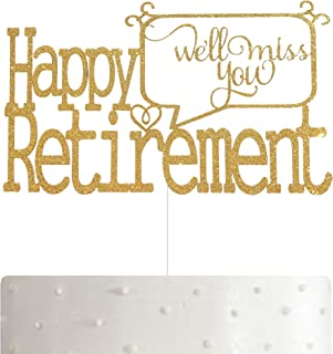 ALPHA K Happy Retirement Cake Topper, Retirement Party Supplies Decoration with Premium Gold Glitter
