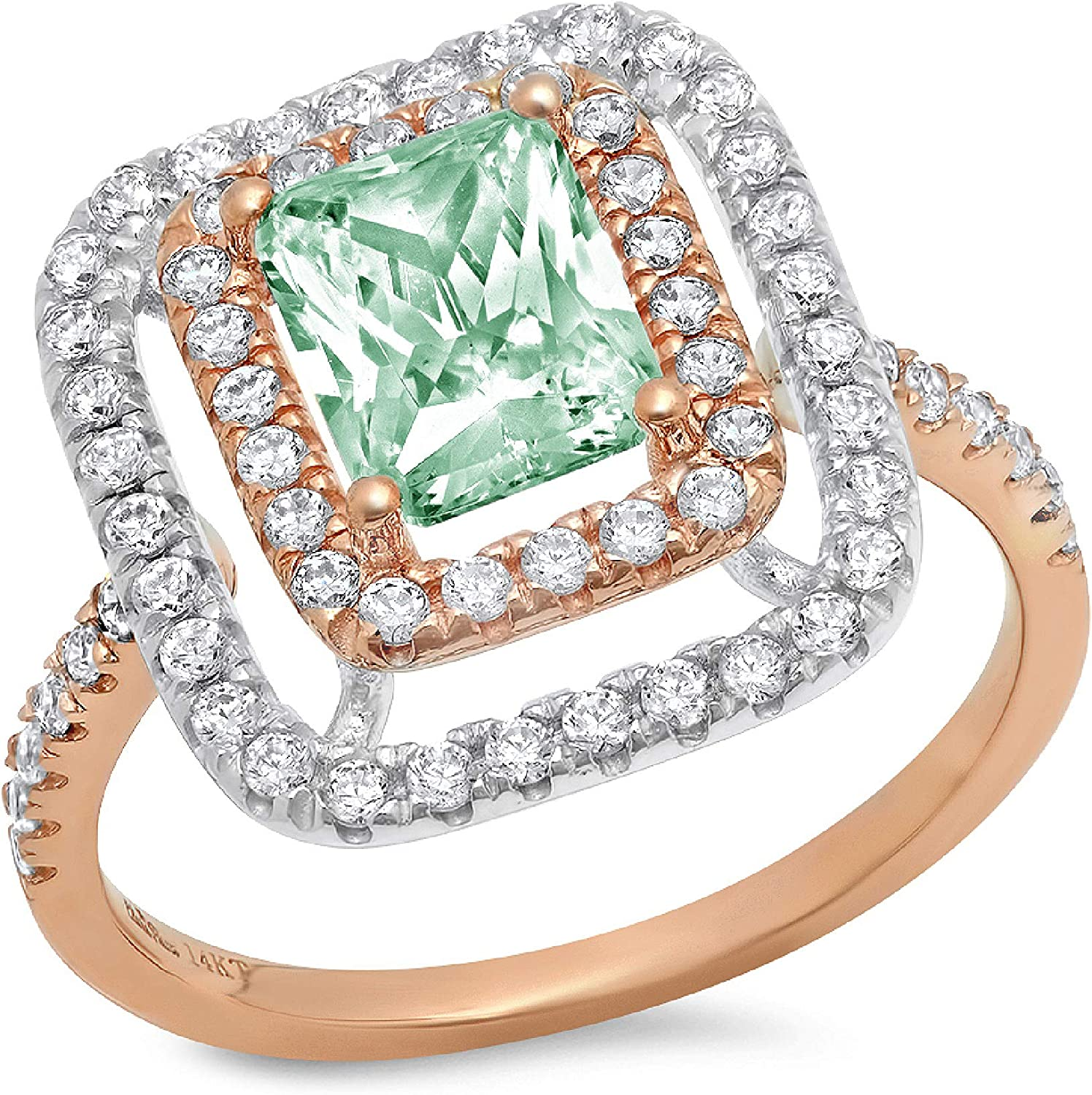2.66 ct Emerald Cut Double Halo Solitaire with Accent Davidsonite Mint Green Simulated Diamond Ideal VVS1 Engagement Promise Statement Anniversary Bridal Wedding Ring 14k 2 tone Gold