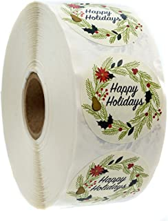 Ivory Holiday Floral Happy Holidays Stickers - 1.5
