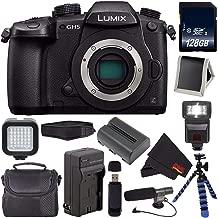 Panasonic Lumix DC-GH5 Mirrorless Micro Four Thirds Digital Camera DC-GH5KBODY (International Version) + Battery + Charger + 128GB SDXC Class 10 Memory Card + Carrying Case Bundle