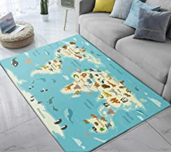 Area Rug Animals Landmarks World Map Cartoon Large Floor Mat for Kids Bedroom Living Room Dorm Decor 5' x 6.6'