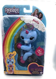 WowWee FiNGERLiNGS - Baby Unicorn: STELLA (Sky-Blue) with Pink Horn/Hoofs and Rainbow Mane/Tail - interactive Pet