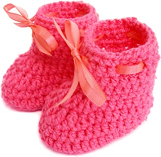 Love Crochet Art Pink Cute Crochet Baby Booties for Baby Girl (6 to 12 Month)