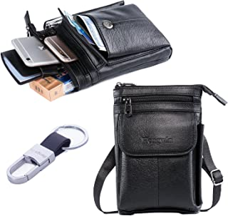Hwin Men Travel Shoulder Bag Cell phone Crossbody Purse iPhone 8 Plus Holster Case Premium Leather Belt Waist Pouch Small Messager Bag for iPhone 7 Plus Samsung S9 S7 Edge Plus LG G6/V30+Keyring-Black