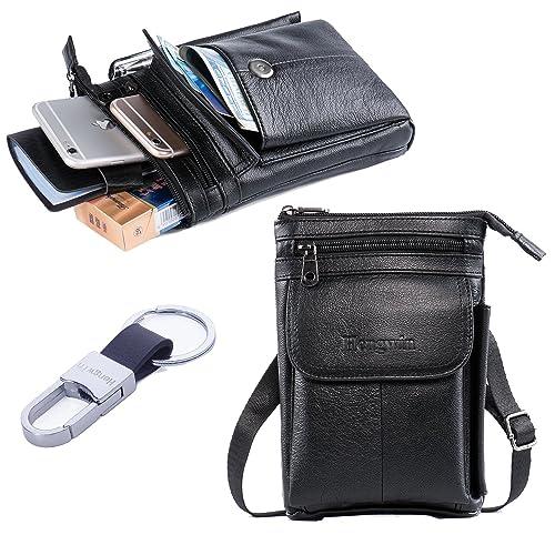 dcd60be22065 Hwin Men Travel Shoulder Bag Cell phone Crossbody Purse iPhone 8 Plus  Holster Case Premium Leather
