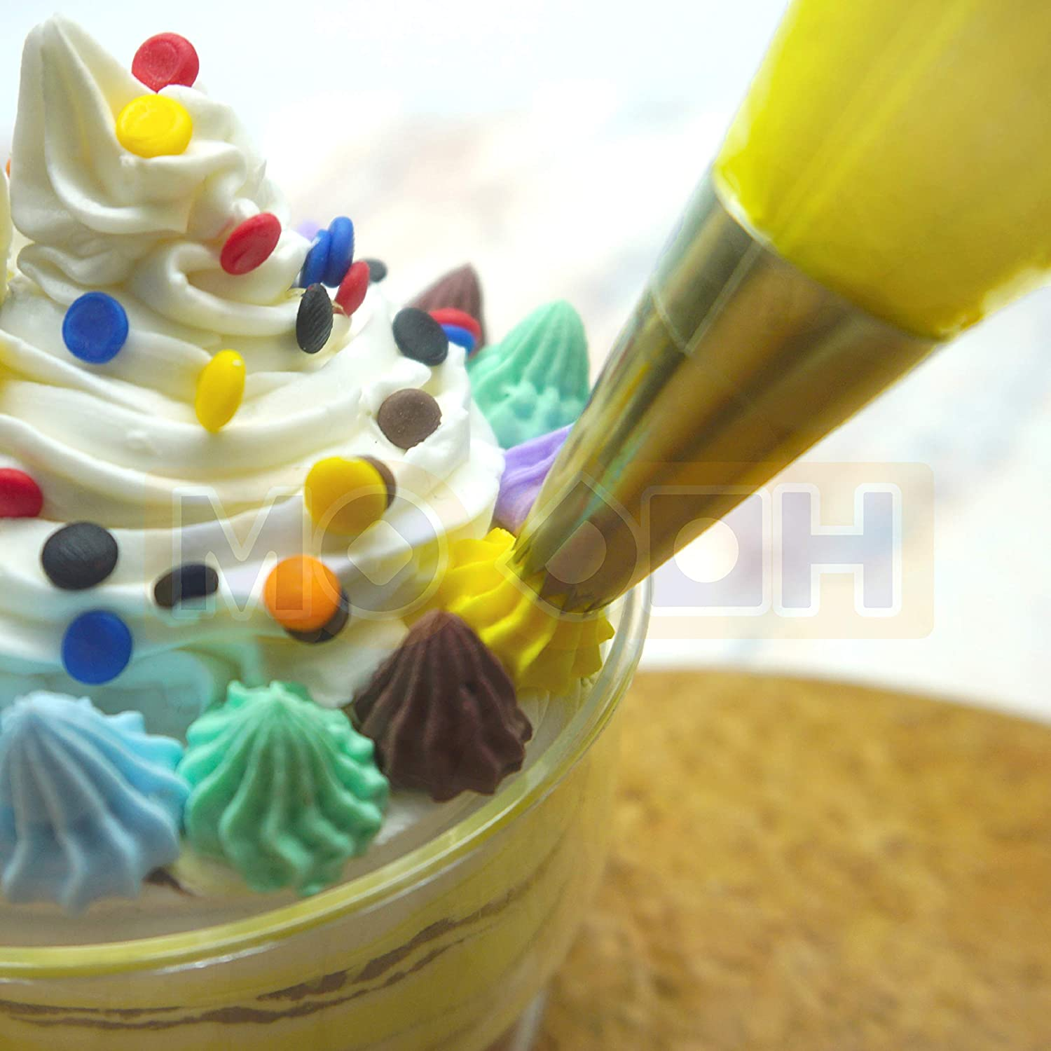 MODOH Simulation Fake Whipped Cream Clay with Piping Nozzles Tips Pink