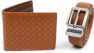 Men's Matching Black & Brown Leather Belt & Wallet Gift Set Box