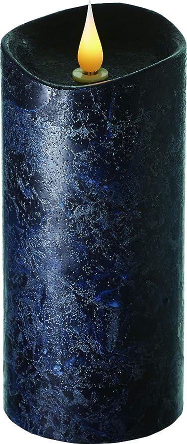 押すメアリアンジョーンズ年エンキンドル 3D LEDキャンドル ラスティクピラー 直径7.6cm×高さ18.5cm ブラック