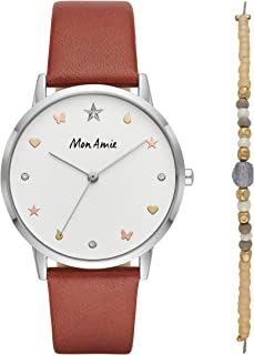 Mon Amie Women's Supports Education Quartz Leather Strap, Brown, 18 Casual Watch (Model: CBMA2505)