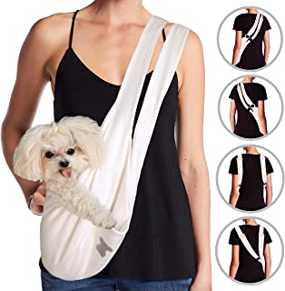 MISO PUP Dual Strap Dog Sling Carrier (White/Gold) Pockets & Head Notches Made in USA Machine Washable for Spoiled Small Dogs 8lbs