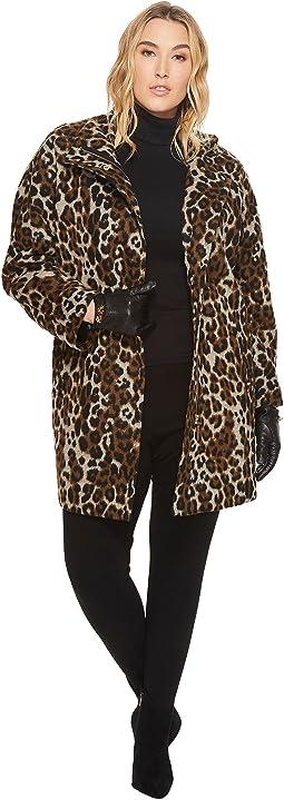 Plus Size Leopard Print Asymmetrical Coat