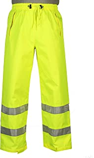 Safety Depot Lime Yellow Reflective Class E Safety Draw String Pants Water Resistant High Visibility and Light Weight 739c-3 (Medium)
