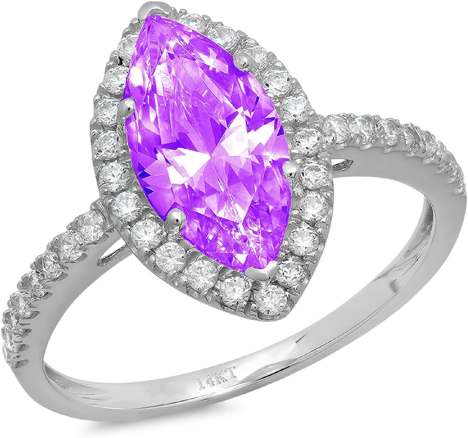2.35ct Brilliant Marquise Cut Solitaire with Accent Halo Natural Purple Amethyst Gem Stone VVS1 Designer Modern Statement Ring Solid 14k White Gold Clara Pucci
