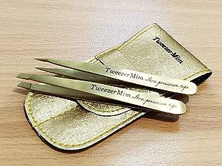 Stainless Steel 2-Piece Tweezers - Pure Leather - Matt Gold Professional Eyebrow Tweezers   Precision Hair Tweezers   Best for Plucking Chin Facial Hair, Money Back Guarantee