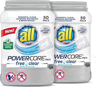 All Powercore Pacs Laundry Detergent, Free Clear for Sensitive Skin, 2 Tubs, 50 Count