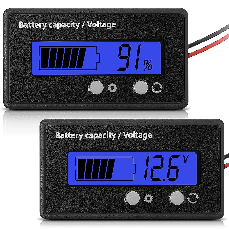 Medidor de Batería con Alarma DC 12V 24V 36V 48V 60V 72V 84V, Ajuste Frontal y Tecla de Interruptor, Monitor Indicador de Voltaje Capacidad Batería de Lones de Litio y Plomo-Ácido (Azul)