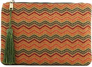 Otto Angelino Pochette di Design da Donna in tessuto con Nappina sulla Zip - Perfetta per organizzare la borsa, per trucch...